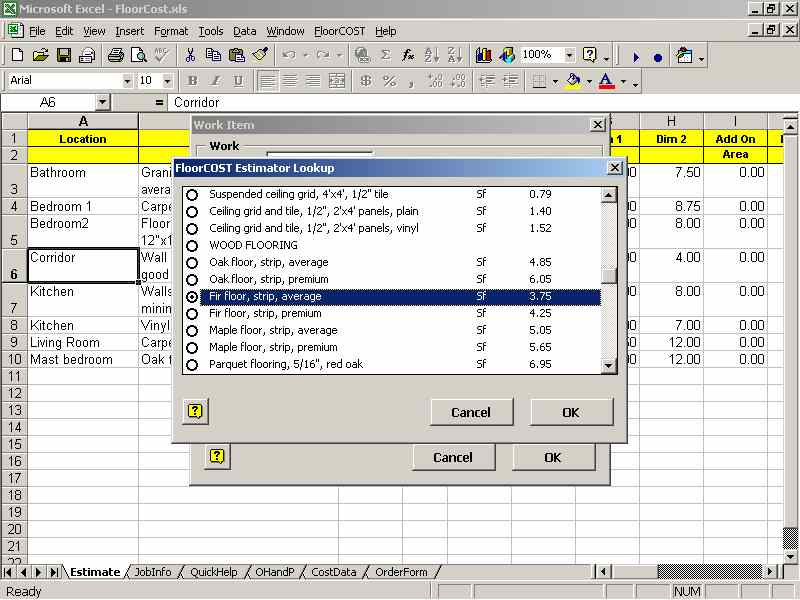 FloorCOST Estimator for Excel