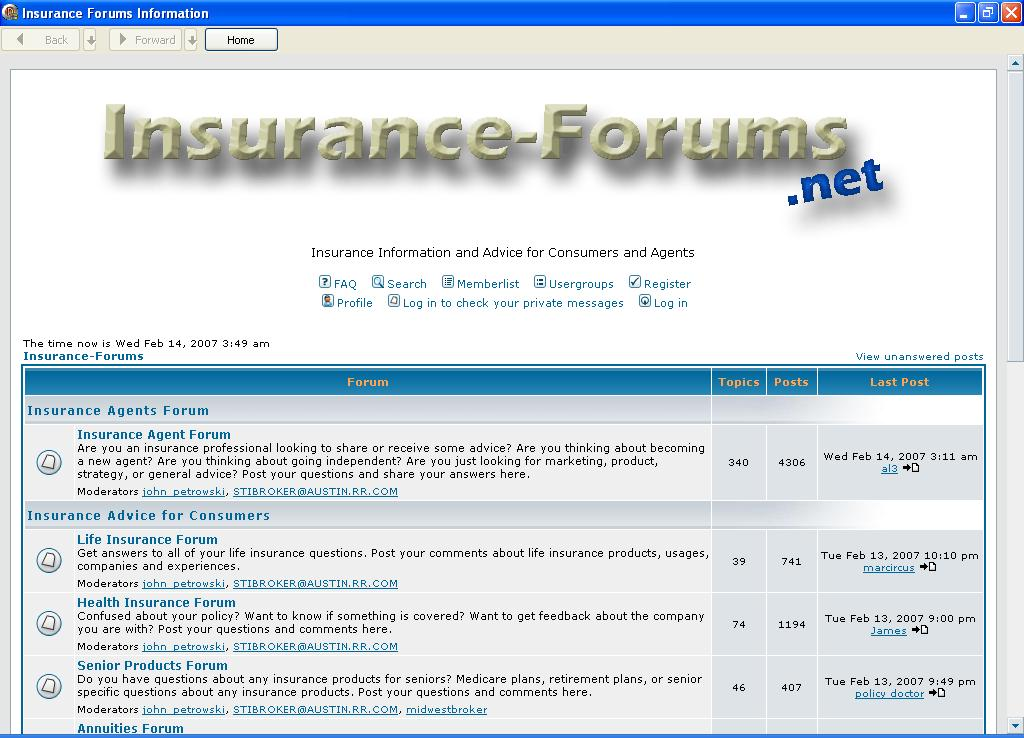 Insurance Forums Information