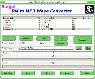 Bingo RM to MP3 Wave Converter