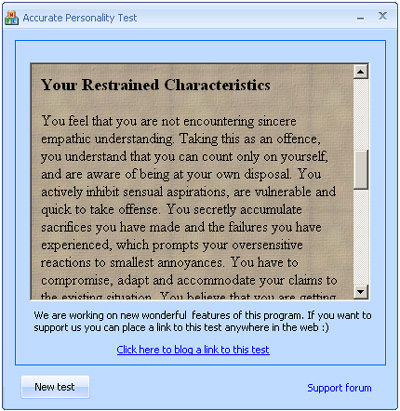 Personality tests package