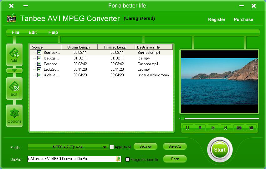 Tanbee Video to AVI MPEG Converter