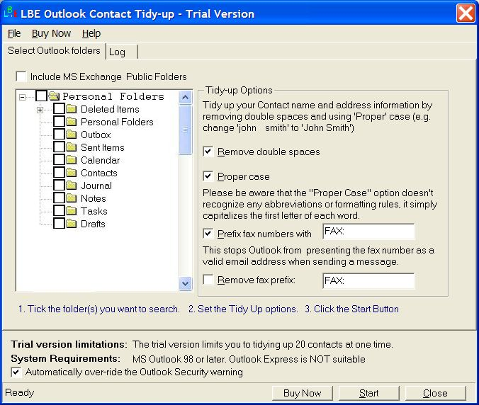 LBE Contact Tidy Up for MS Outlook